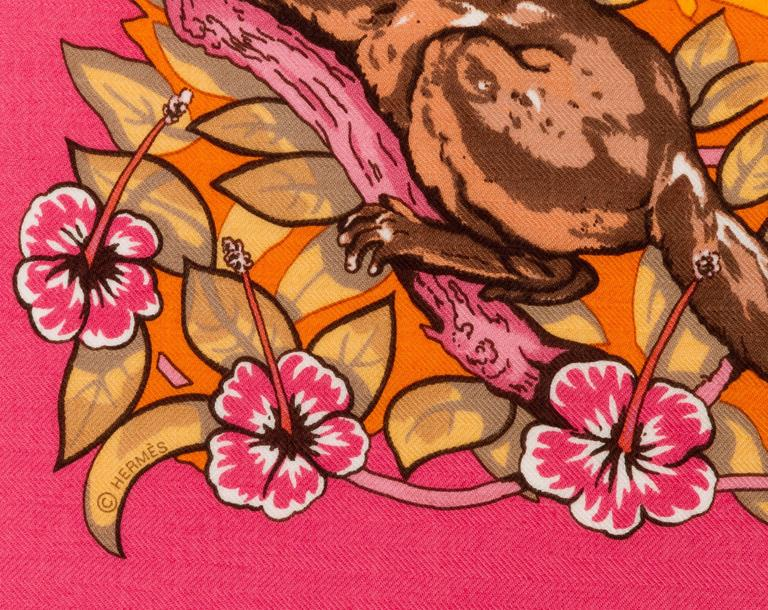 "Hermès Cashmere 55"" Pink Jungle Love Shawl 3"