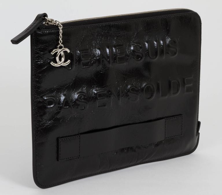 """Chanel Black """"Je Ne Suis Pas En Solde"""" Bag For Sale 1"""