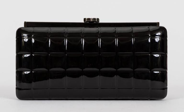Black Chanel Patent Leather Evening Clutch Bag For Sale