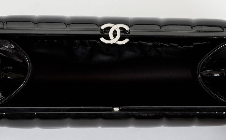 Women's or Men's Chanel Patent Leather Evening Clutch Bag For Sale