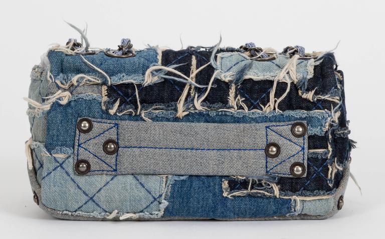 Gray Chanel Denim Dallas Limited Edition Flap Bag For Sale