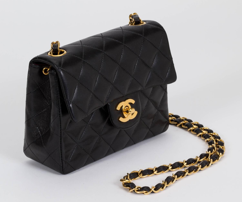 bcfe49faa0d Chanel Black Leather Mini Classic Flap Bag At 1stdibs