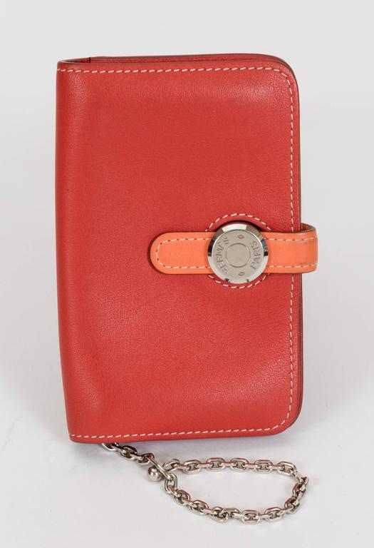 Red Hermès Bicolor Dogon Wallet With Chain For Sale
