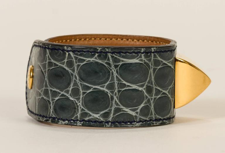 Women's or Men's Hermès Crocodile Medor Bracelet For Sale