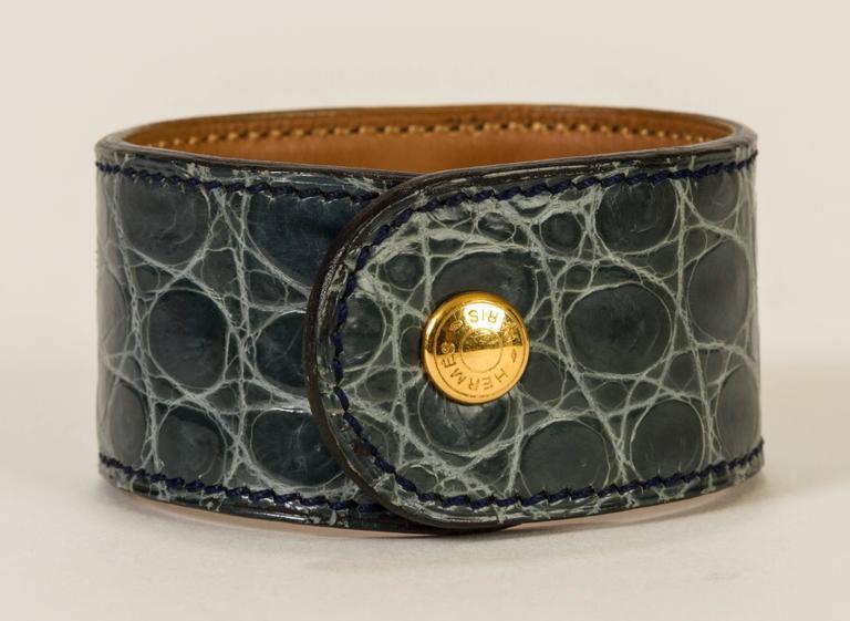 Hermès Crocodile Medor Bracelet For Sale 1