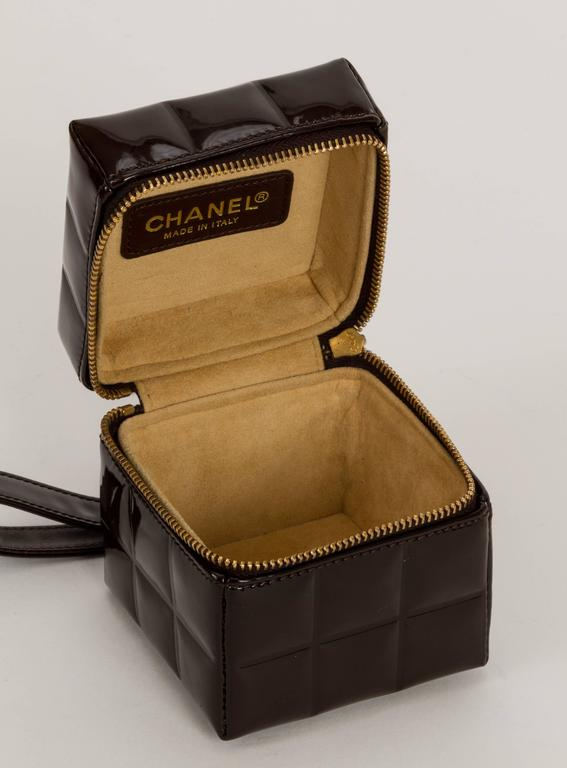 Chanel Dark Brown Patent Cube Evening Bag 4