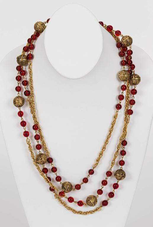 1980's Chanel Red Gripoix Necklace 3