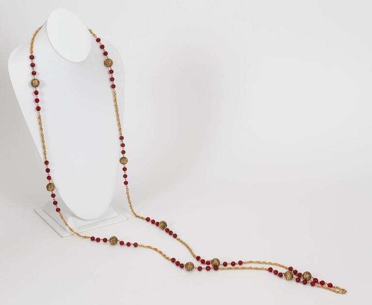 1980's Chanel Red Gripoix Necklace 4