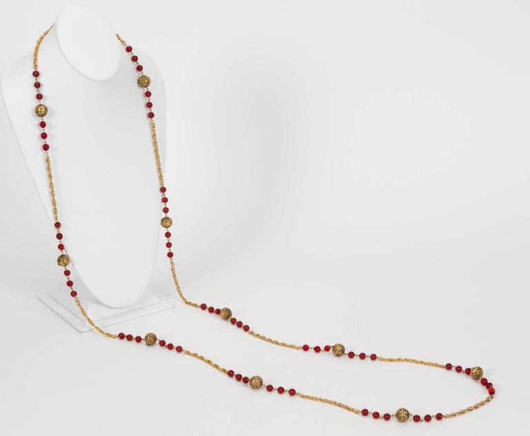 1980's Chanel Red Gripoix Necklace 5