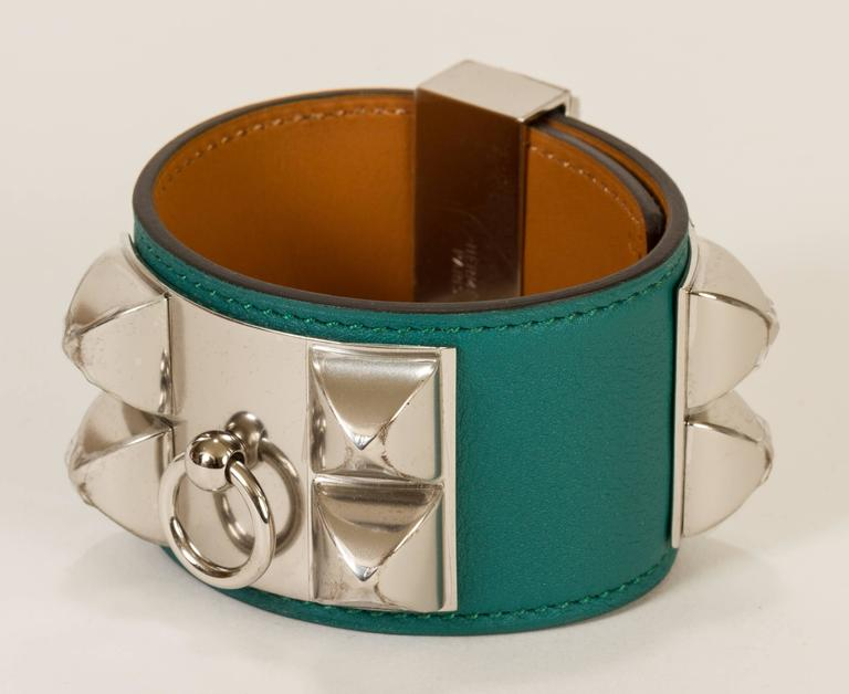 Hermès CDC Malachite Green Cuff Bracelet For Sale 2