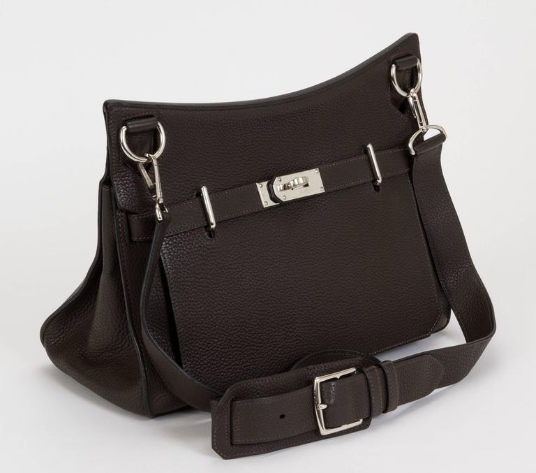 Hermès medium Jypsiere shoulder/cross body bag. Brown Togo leather and palladium hardware. Size 34cm. Partial plastic still on. Date stamp M for 2008. Comes with original duster.