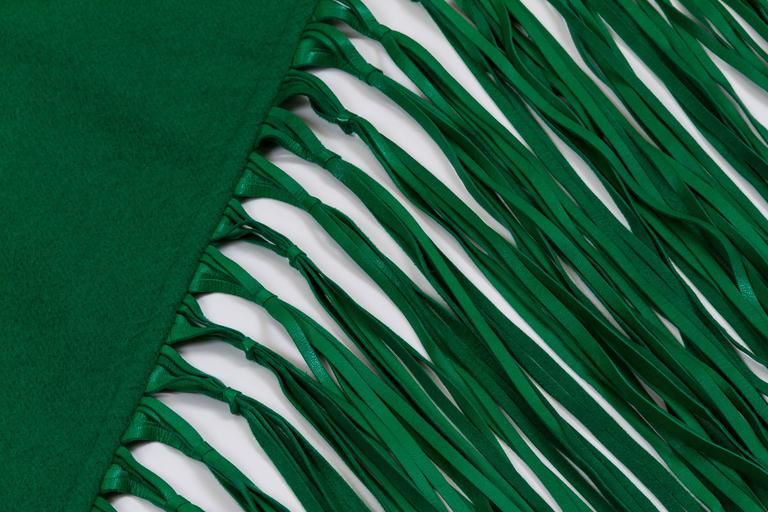 Hermès Cashmere & Leather Green Shawl In Excellent Condition For Sale In Los Angeles, CA