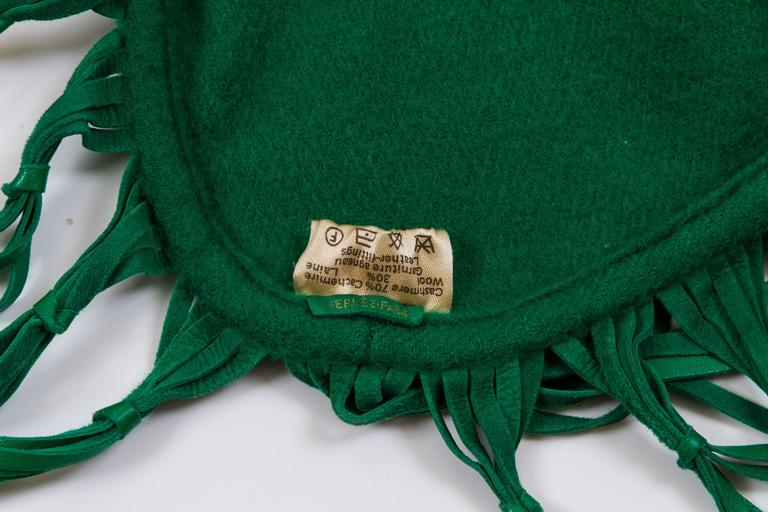 Women's or Men's Hermès Cashmere & Leather Green Shawl For Sale