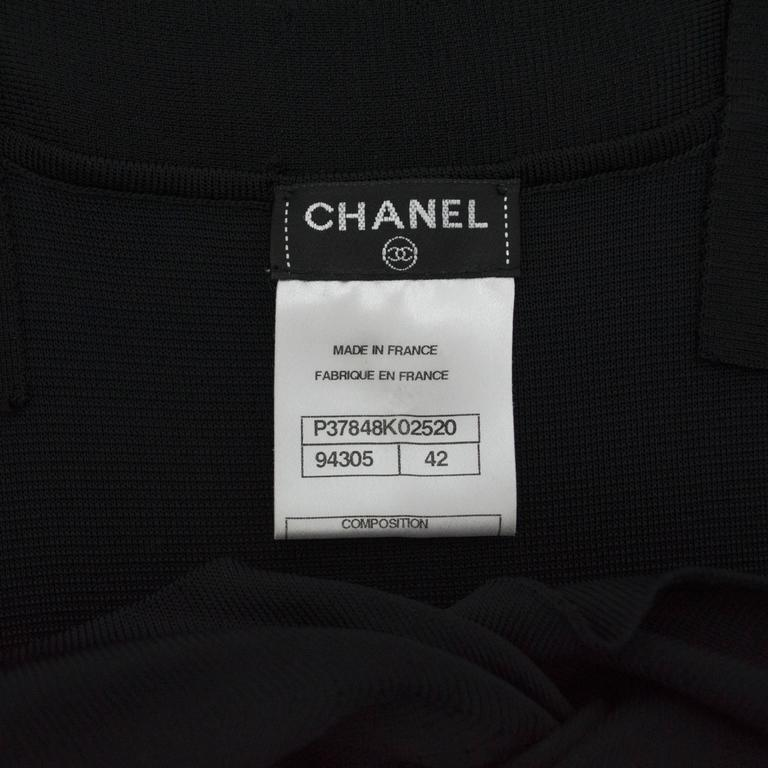 Chanel Black Jersey Fitted Cocktail Dress 42 3