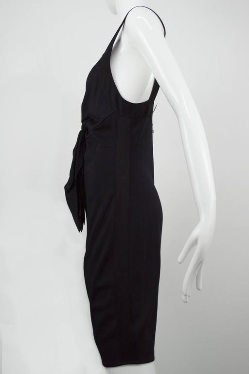 Chanel Black Jersey Fitted Cocktail Dress 42 4