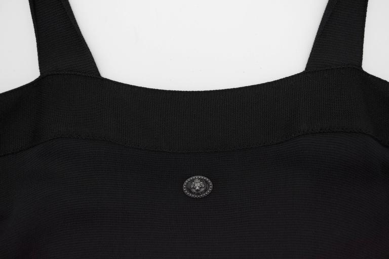Chanel Black Jersey Fitted Cocktail Dress 42 6