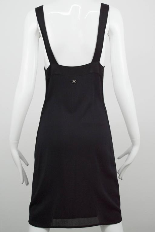 Chanel Black Jersey Fitted Cocktail Dress 42 7