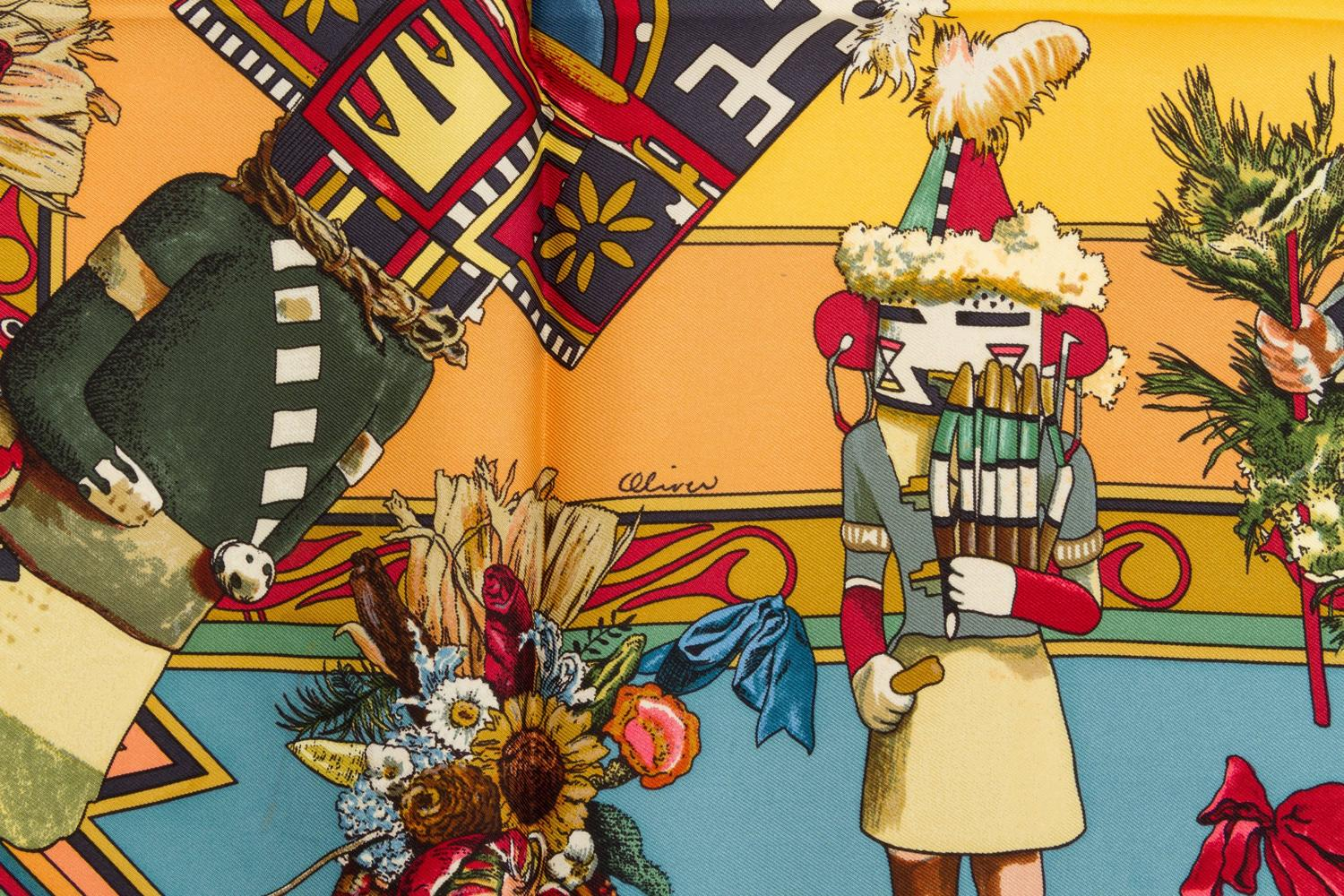 hermes kachinas silk scarf by artist kermit oliver for