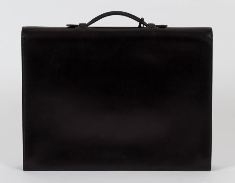 1b1a8999d77b Hermès Briefcase Sac a Depeche Black Box Bag In Good Condition For Sale In  Los Angeles
