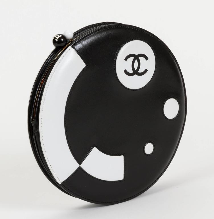 Chanel Black and White Rare Round Chain Bag 3