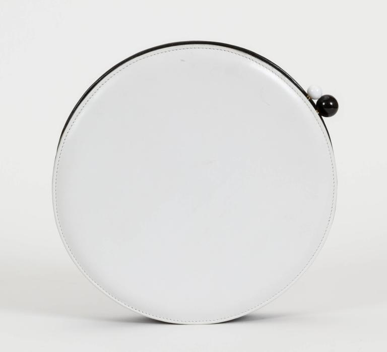 Chanel Black and White Rare Round Chain Bag 4