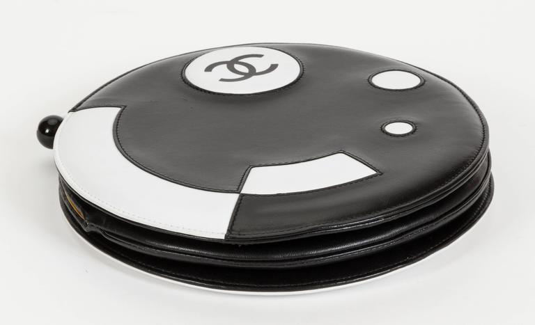 Chanel Black and White Rare Round Chain Bag 5