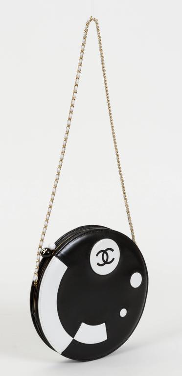 Chanel Black and White Rare Round Chain Bag 7
