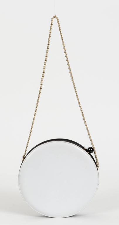 Chanel Black and White Rare Round Chain Bag 8