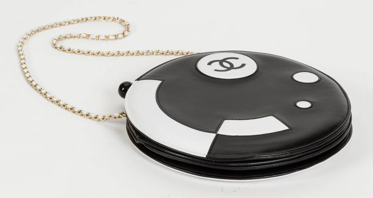 Chanel Black and White Rare Round Chain Bag 9