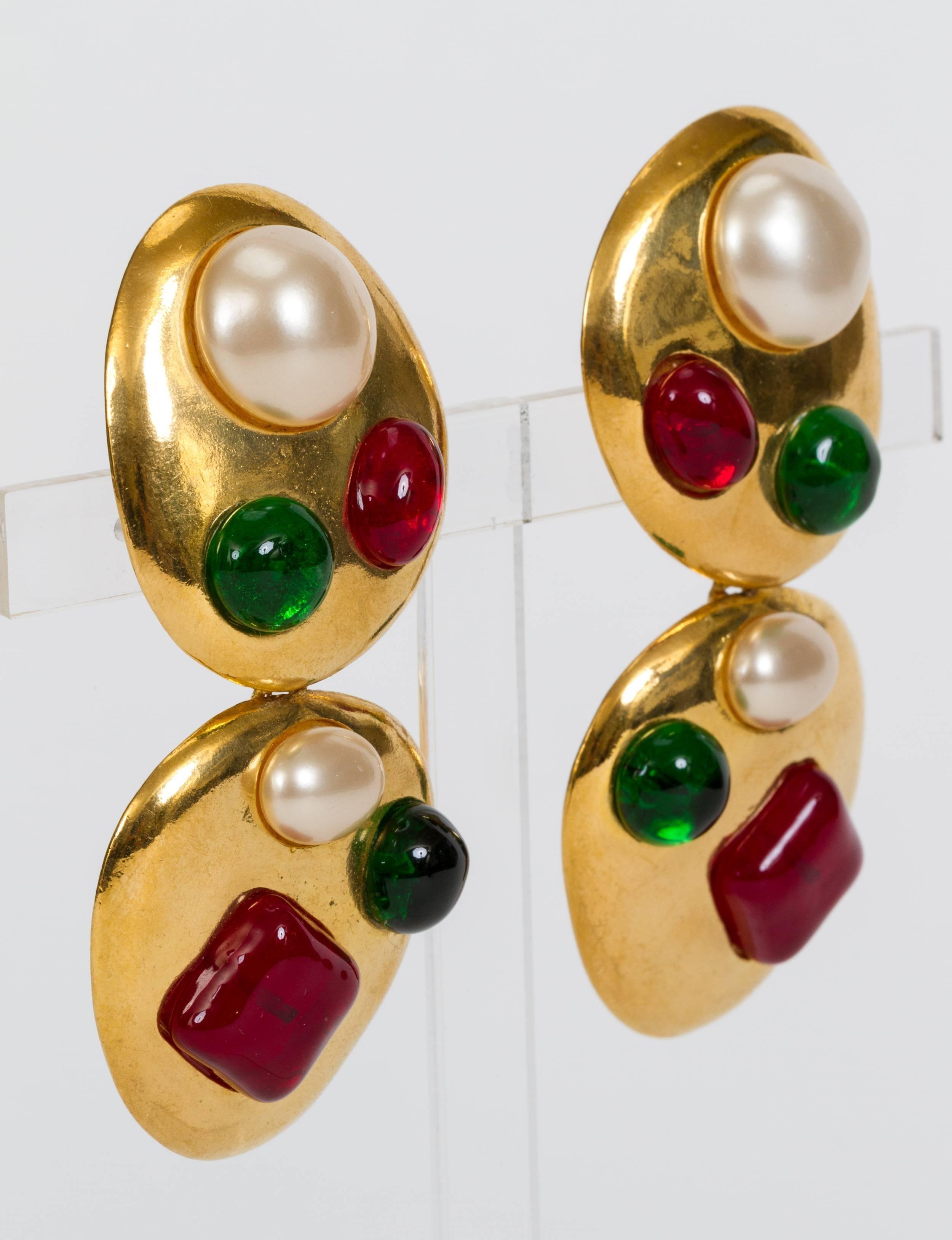 c6ecedcda96da9 Chanel Rare Gripoix Drop Earrings For Sale at 1stdibs