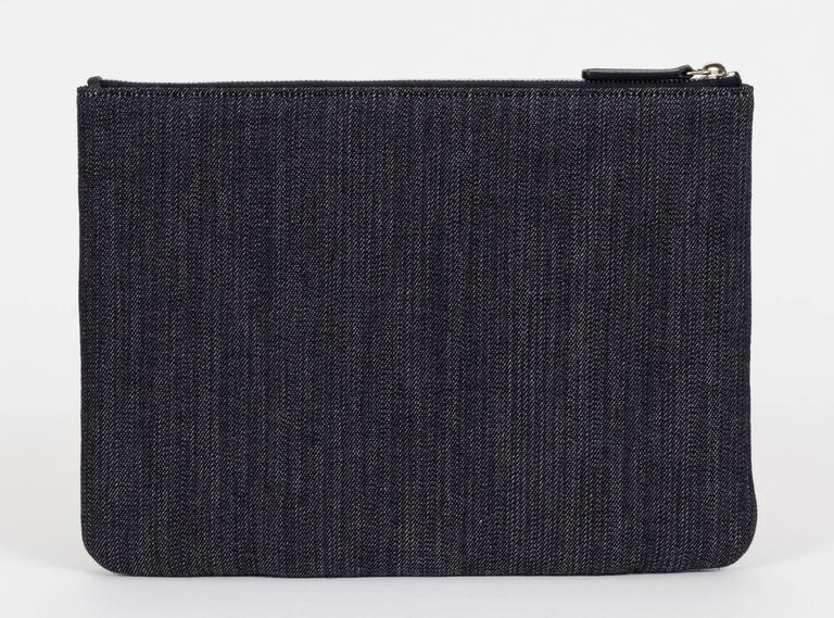 Chanel Medium Denim Zipped Clutch 2