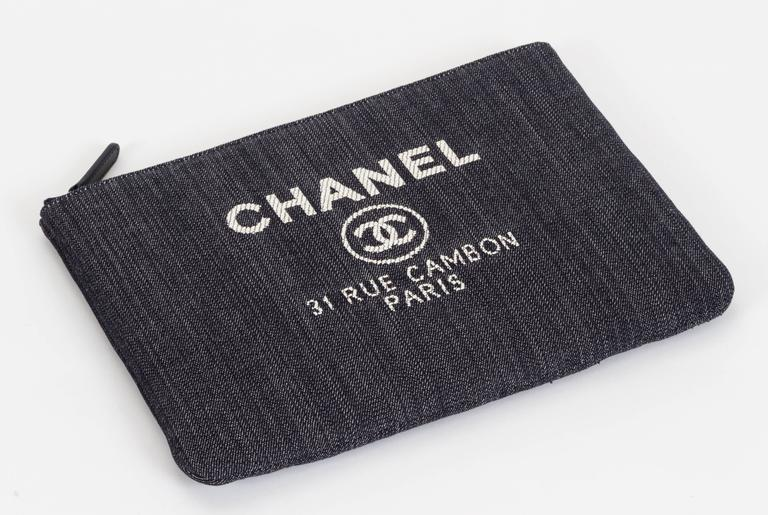 Chanel Medium Denim Zipped Clutch 3