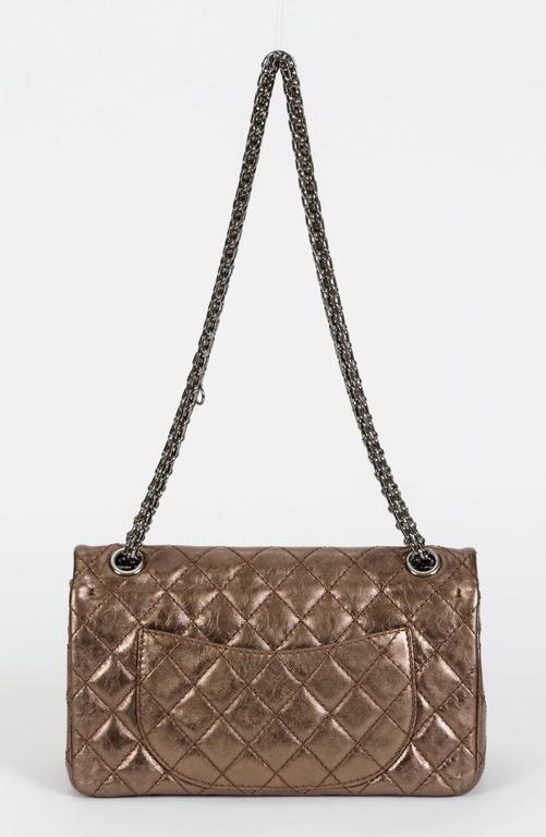 Brown Chanel Bronze Double Flap w/ Charm For Sale