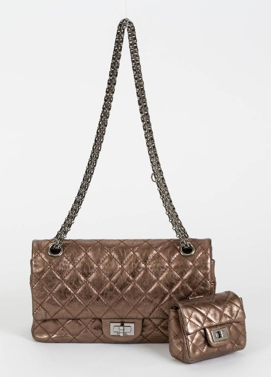 Chanel Bronze Double Flap w/ Charm In Good Condition For Sale In Los Angeles, CA