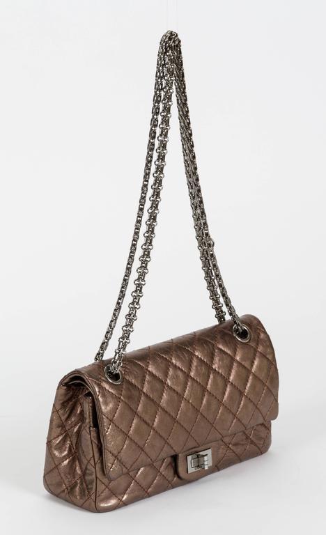 Women's Chanel Bronze Double Flap w/ Charm For Sale