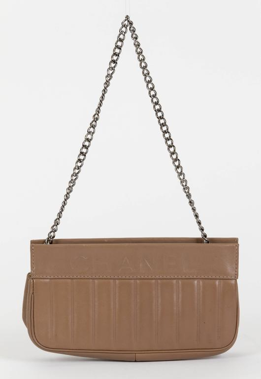 Brown Chanel Etoupe Lambskin Shoulder Bag For Sale