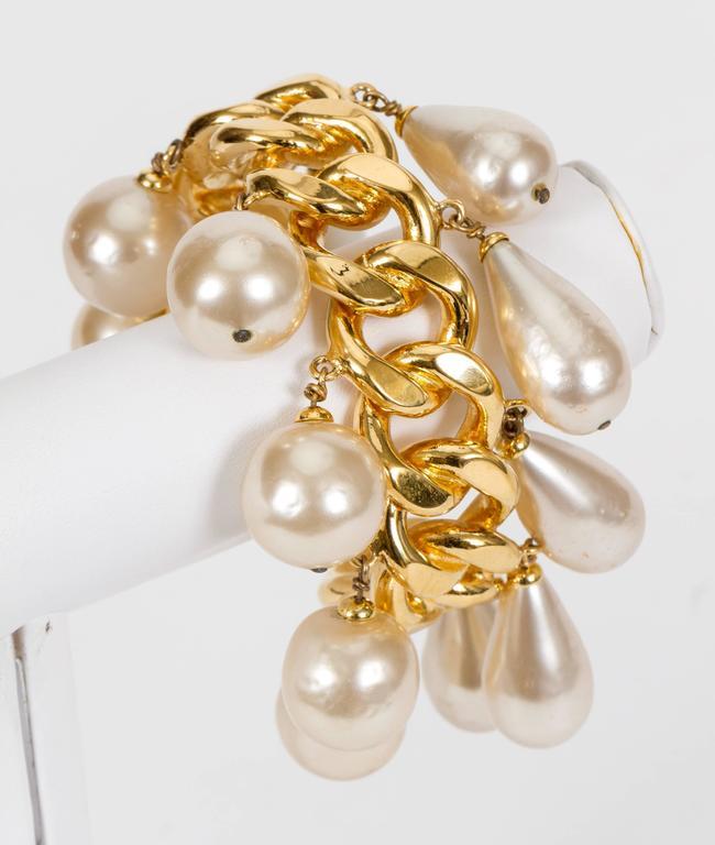 Chanel Pearl Charm Chain Cuff Bracelet 2