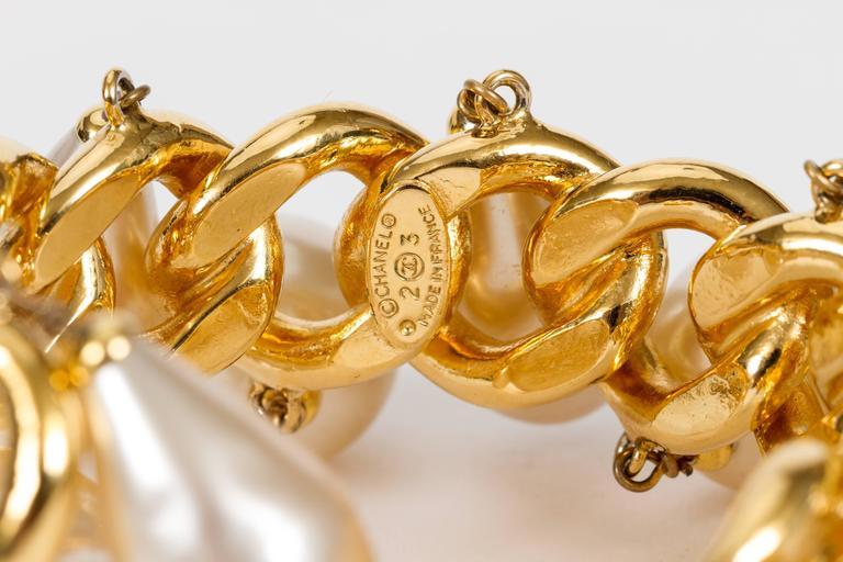 Chanel Pearl Charm Chain Cuff Bracelet 3