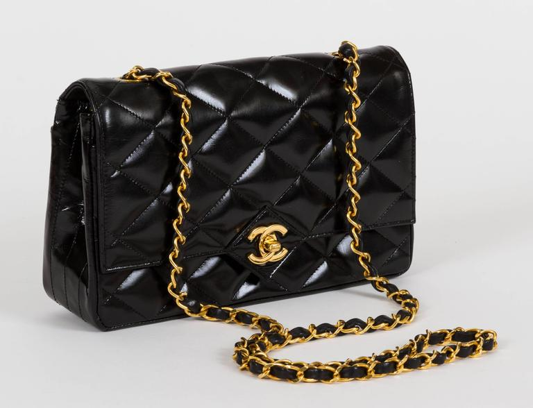 1990s Chanel Black Patent Classic Single Flap Bag 2