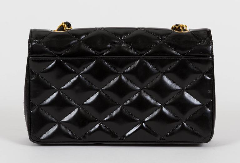 1990s Chanel Black Patent Classic Single Flap Bag 3