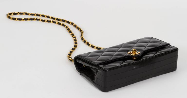 1990s Chanel Black Patent Classic Single Flap Bag 4