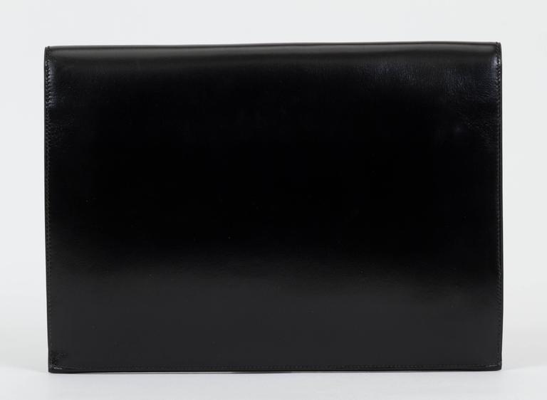 1984 Hermès Black Box Calf & Lizard Clutch Bag 3