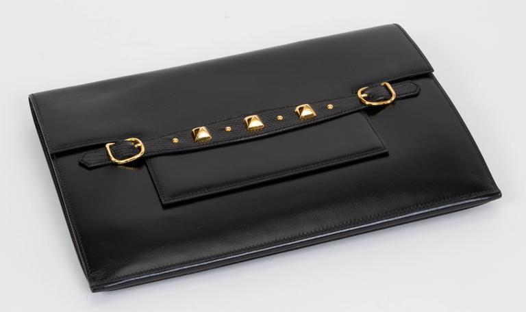 1984 Hermès Black Box Calf & Lizard Clutch Bag 4