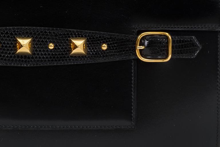 1984 Hermès Black Box Calf & Lizard Clutch Bag 5
