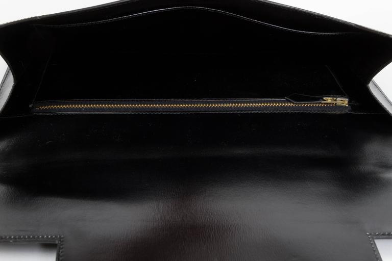 1984 Hermès Black Box Calf & Lizard Clutch Bag 9