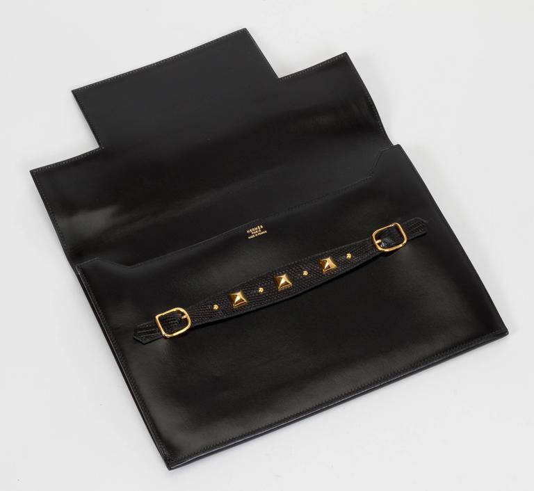1984 Hermès Black Box Calf & Lizard Clutch Bag 10