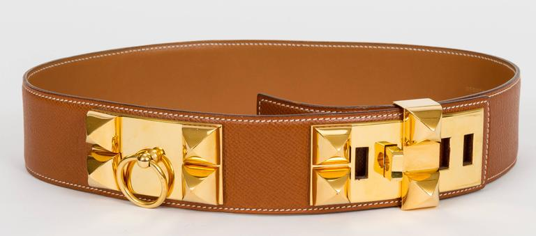 Hermès iconic Collier de Chien belt. Gold Epsom leather and gold rhodium hardware. Dated