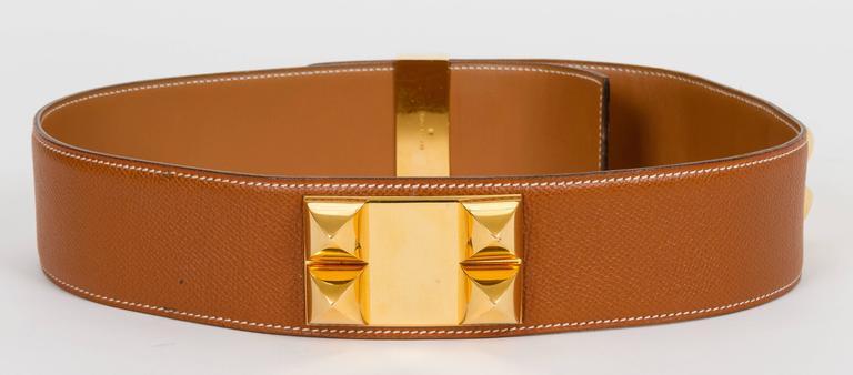 Brown Hermès Collier De Chien 70cm Gold Belt For Sale