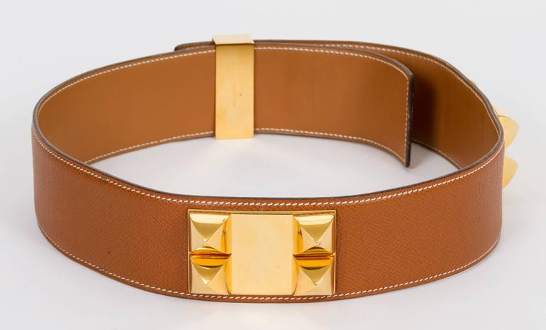 Hermès Collier De Chien 70cm Gold Belt For Sale 2
