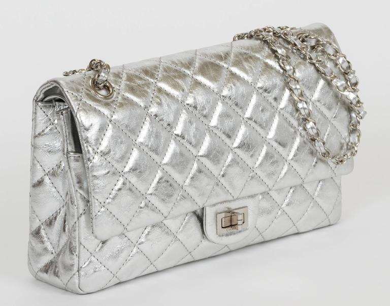 """Chanel limited edition metallic reissue double flap. Leather interwoven chain. Shoulder strap, 11"""" or 20"""". Comes with original box."""